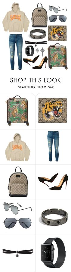 """Travelling"" by lucya-knight ❤ liked on Polyvore featuring Gucci, MICHAEL Michael Kors, Christian Louboutin, Quay, Fallon and Federica Tosi"