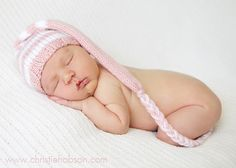 Hand Knit Stocking Elf Infant Hat ,Newborn Baby,Knitted Twin Photo Prop, Pink Chocolate Brown,U Choose Custom Colors, Munchkin Beanie.. $23.99, via Etsy.