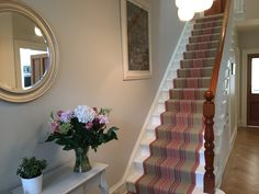 Beautiful Roger Oates runner on stairs with Zoffany Grey paint on walls, a winning combo! Hallway Paint Colors, Paint Colours, Small Hall, Grey Paint, Carpet Runner, Warm Colors, Stairways, My House, New Homes
