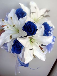 Bridesmaids Posy Wedding Bouquet, Real Touch Ivory Lillies Silk Royal Blue Roses