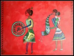 Folk painting/ Warli Musicians/Indian Tribal by OmArtCreations, $100.00