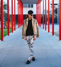 How to wear Zara floral pants, Steven Alan sunglasses, YesStyle denim jacket and Steve Madden pony hair loafers. #personalstyle #menswear #fashion