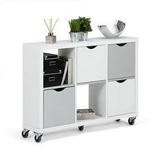 Étagère 8 cases avec tiroirs blanc - Kubico - Bibliothèques-Livings ...