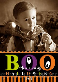 BOO Spooky Halloween Kids and Family Photo Card Printable