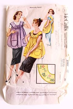 McCalls 2197 Maternity Apron One Size Fits All Really? Vintage Apron Pattern, Aprons Vintage, Vintage Sewing Patterns, Clothing Patterns, Dress Patterns, Apron Patterns, 1950s Fashion, Vintage Fashion, Fashion Fashion