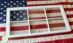 Experiment with positioning flag in window frame for Patriotic Flag Project. Fourth Of July Decor, 4th Of July Decorations, 4th Of July Wreath, July 4th, House Decorations, Old Window Frames, Window Art, Window Frame Ideas, Window Panes