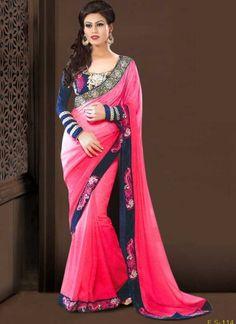 Dazzling Pink Chiffon Jacquard Designer Sarees http://www.angelnx.com/Sarees/Party-Wear-Sarees