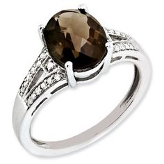 Oval Cut Smokey Quartz Diamond Sterling Silver Ring Available Exclusively at Gemologica.com