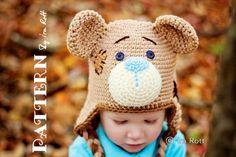PATTERN  Classic Teddy Bear Hat  Crochet PDF by FashionPatterns, $6.50
