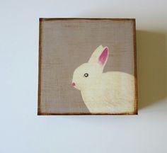 Rabbit White 5x5 art block Baby Nursery Decor Children Forest Woodland  gray animal redtilestudio. $29.00, via Etsy.