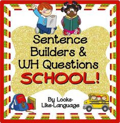 Say and write simple N-V-O sentences to talk about school! Game,task cards and worksheets! $