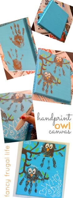 """Who loves Dad?"" Owl handprints on canvas by fancy frugal life"