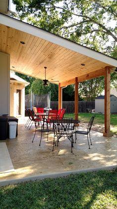 Cedar Park Covered Patio Transformation, The Ef Backyard Covered Patios, Covered Patio Design, Backyard Patio Designs, Diy Patio, Backyard Landscaping, Covered Back Patio, Outdoor Patios, Covered Deck Designs, Outdoor Rooms
