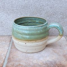 Wheel thrown stoneware pottery large mug