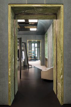 Luxury Boutique in Turin by Dimore Studio Architecture Details, Interior Architecture, Upholstered Wall Panels, Steel Stairs, Villa, Architrave, Shops, Retail Interior, Retail Design