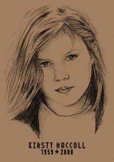 Kirsty MacColl: A3 Signed Print - Hand Drawn Portrait - (Black on Sepia Card or Sepia on Cartridge Paper) #icons #Portrait #HandDrawnPortrait #Art #PencilPortrait #CommissionedArt #KirstyMccoll #BillTaylorBeales #Hand #Drawn