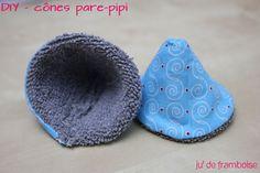 """Un nouveau tutoriel / DIY pour aujourd'hui : fabriquer ses propres cônes pare-pipi. En future maman d'un petit garçon, toutes mes amies m'ont mise en garde : """"prévois beaucoup de serviettes de rech..."""