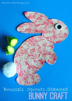 Brussels Sprouts Stamped Bunny Craft for Kids for Easter or Sprint time. from iheartcraftythings.com