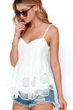 Cute Ivory Top - Laced Top - Pleated Top - $46.00