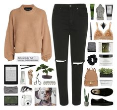 """""""The Quiet"""" by hhuricane ❤ liked on Polyvore featuring Topshop, Designers Remix, Vans, Aesop, Universal Lighting and Decor, Korres, Cosabella, H&M, American Apparel and philosophy"""