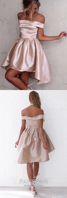 Pink Homecoming Dresses High Low, A Line Homecoming Dresses Off The Shoulder, Satin Homecoming Dresses Sexy, Cheap Homecoming Dresses Unique #FansFavs #homecomingdresses #pinkdress #highlowdress