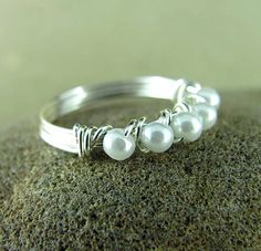 Pearl Ring Wire Wrapped Eternity Style Custom Ring Silver Wire Wrapped Jewelry Nickel Free