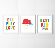 Kids Room Art Decor Set of 3 Printables Colourful by BabyCoStore