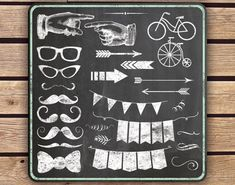 Clipart - Chalkboard Elements - Instant Download - 54 Transparent PNG Files plus EPS vector file - Hipster Mustache Arrow Banner