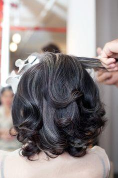Natural dark gray hair