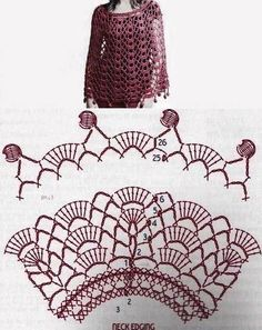 Discover thousands of images about Ponchos y Capas circulares en Crochet, con patrones. Col Crochet, Bonnet Crochet, Crochet Cape, Crochet Poncho Patterns, Crochet Collar, Crochet Diagram, Crochet Blouse, Crochet Scarves, Crochet Motif