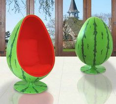 Furniture:Unique Design And Style Of The Inmod Egg Chair With Watermelon Fruit Motif Unique Design and Style of the Inmod Egg Chair Weird Furniture, Cute Furniture, Furniture Decor, Space Furniture, Furniture Design, Watermelon Patch, Ball Chair, Egg Chair, Decorating Rooms