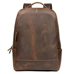 Need a modern day, futuristic style genuine leather backpack? This Woosir Backpack is just what you need! This leather college backpack is made of crazy horse genuine leather. It is also ideal to be used as leather laptop backpack. Vintage Leather Backpack, Leather Laptop Backpack, Leather Backpacks, Laptop Bags, Leather Briefcase, Travel Backpack, Travel Bags, Saddle Leather, Cow Leather