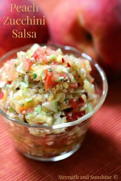 Peach Zucchini Salsa   Strength and Sunshine @RebeccaGF666 The perfect healthy fresh fruit and vegetable salsa recipe. Gluten-free, vegan, paleo, and great for dipping, topping, and snacking!