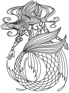 Floating tresses and curving scales make up a lovely mermaid design. Downloads as a PDF. Use pattern transfer paper to trace design for hand-stitching.