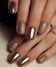 Pretty Golden Chrome Nail Art Designs for Prom – The Best Nail Designs – Nail Polish Colors & Trends Metallic Nails, Acrylic Nails, Metallic Gold, Matte Nails, Chrime Nails, Dark Nude Nails, Nails 2018, Silver, Acrylic Art