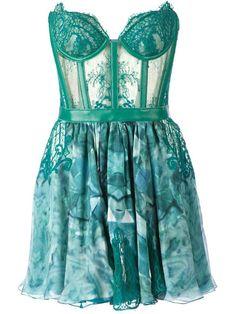 Kristian Aadnevik lace and print strapless dress