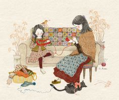 Image shared by Naty. Find images and videos about wallpaper, illustration and s.hee on We Heart It - the app to get lost in what you love. Art And Illustration, Et Wallpaper, Sewing Art, Korean Artist, Whimsical Art, Cat Art, Painting & Drawing, Illustrators, Folk Art
