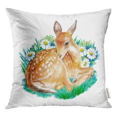 Baby Deer, Watercolor Flowers, Painting Inspiration, Dot And Bo, Print Patterns, Pillow Cases, Moose Art, Fairy, Cushions