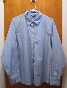 Lands End Womens Plus Size 20W Light Blue Dress Shirt No Iron #LandsEnd #ButtonDownShirt #Career #auction