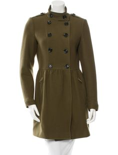 Olive green Burberry Brit wool coat with dual welt pockets at hip, ruched accent at waist, tonal top stitching throughout and exposed button closures at front.