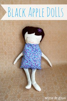 Free Pattern | Black Apple Dolls at Wine & Glue | A great sewing project for a newbie #free #pattern