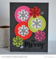 Joyous Christmas Sentiments, Snowflake Flurry, Sketched Chevron Background, Radial Stitched Circle STAX Die-namics, Snowflake Flurry Die-namics - Teri Anderson  #mftstamps