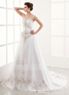 A-Line/Princess Sweetheart Chapel Train Organza Satin Wedding Dress With Embroidered Ruffle Beading (002001167)