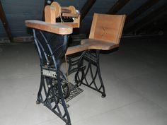 Dürkopp Spinnrad - Spezialanfertigung mit Sitz / Stuhl - voll funktionsfähig