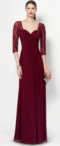 NEW! Delicate Lace & Chiffon V-neck Neckline Illusion Sleeves A-line Mother Of The Bride Dresses With Beadings