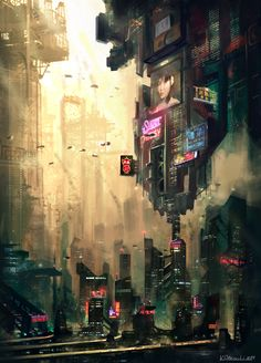 An image of a cyberpunk city. It is classically very industrial and dark with splashes of neon colors that show off the technology. #IML295_week5