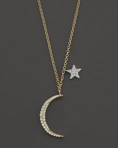 """Meira T Diamond Moon Necklace in 14K Yellow Gold, .22 ct. t.w., 16"""""""