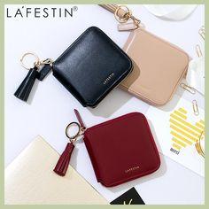 LA FESTIN High Quality 100% Genuine Leather Women Mini Wallet Leather Coin Purse Coin Credit Card Holder Zipper Women Wallet