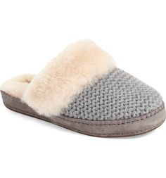 Kick back in style and comfort with a textured-knit UGG slipper featuring a durable rubber sole, decorative foxing and UGGpure lining designed to wick away moisture and provide the softness of genuine shearling in a plush wool textile.