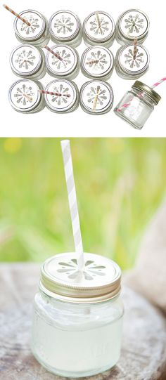 Mason jar sippy cups // perfect for parties!